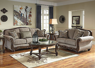 MORENZI Traditional Living Room Couch Set Furniture BROWN Chenille Sofa Loveseat