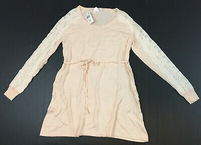 - Motherhood Maternity Lace Trim Sleeves Belted Sweater, Peach, XS MSRP $39.98