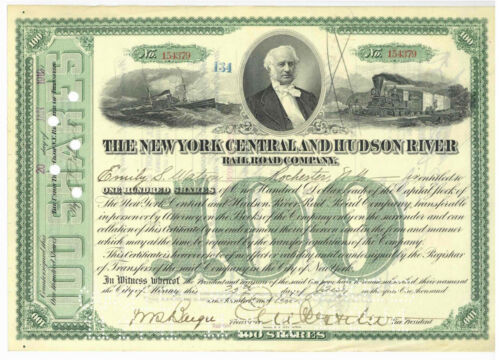 New York Central And Hudson River. Stock Certificate. 1910
