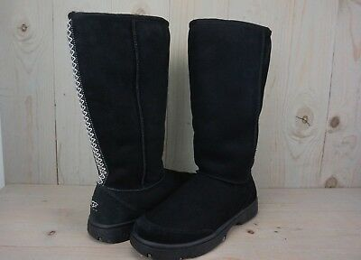 UGG ULTIMATE TALL BRAID  black SUEDE SHEARLING WOMENS  BOOTS US 11 NEW for sale  Ventura