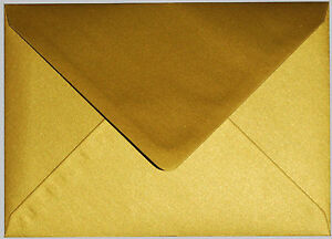 Superb Quality 100GSM Metallic Gold or Silver C5 Envelopes (162x229) to fit A5