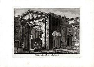ROMA-Veduta-del-Portico-d-039-Ottavia-incisione-su-rame-originale-fine-039-700