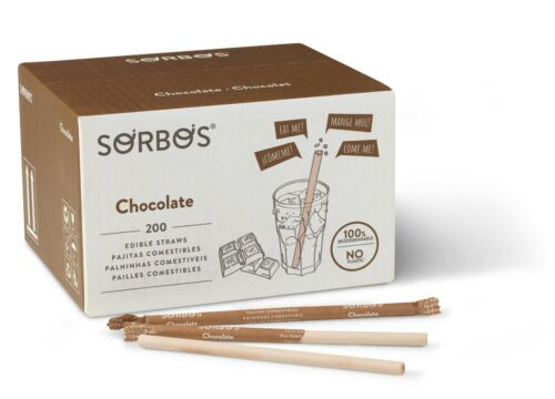 Sorbos Edible Straws, Chocolate Flavored, No Plastic, Individually Packaged