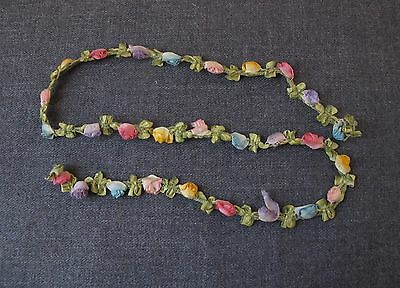 ANTIQUE SILK RIBBON WORK FLOWERS & LEAVES TRIM FOR DOLLS BEADED PURSES