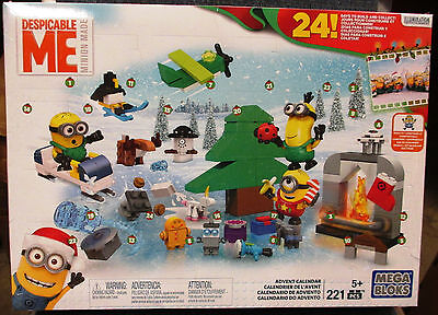 NEW! Mega Bloks Minions Despicable Me Advent Calendar Blocks 221 pcs Lego Set