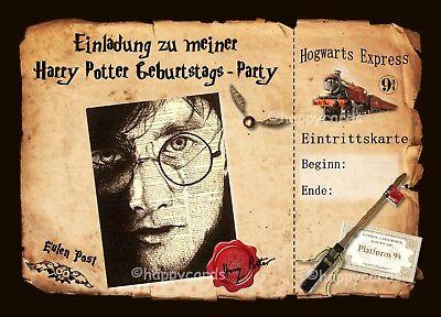 8 Einladungskarte Harry Potter Geburtstag Kinder Mottoparty Einladungen Hogwarts