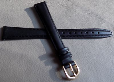 (Ladies Timex Black Padded Genuine Leather Calf 13mm LONG Watch Band Strap $9.95)