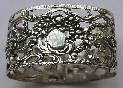Großer Serviettenring Silber 835 floral gravieren 4,7x2,8 breit2,7cm