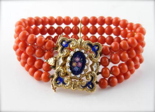 Antique Georgian 18K Gold Coral and Enamel Bracelet