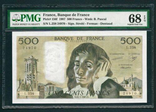 France 1987, UNC Banknote 500 Francs, P-156f - PMG 68 EPQ - TOP POP