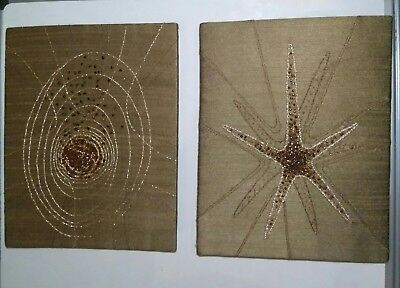 Vintage Two 1950/60's Textile Thread Wall Pictures on gold Silk 19 /25 cm