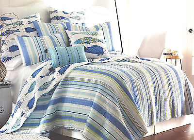 3 Pc   Tropical Fish   Full Queen Quilt Set Striped Catalina Beach House Coastal