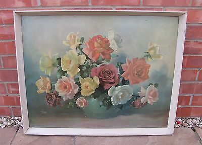 Vintage Retro June Roses Wilf Walker Floral Print Picture Flowers Kitsch 1950s