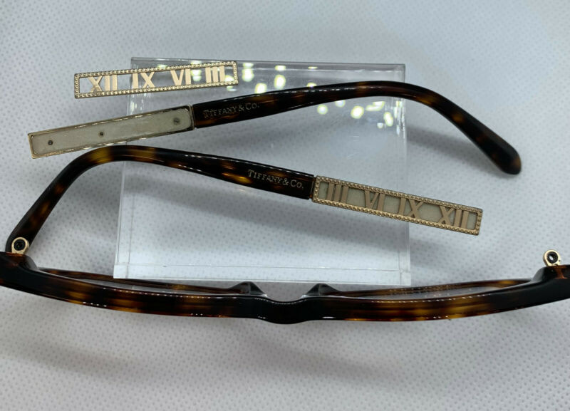 Tiffany TF2102-F glasses Havana PARTS ONLY Roman Numeral plates on sides