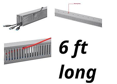 6' Feet Long Raceway Duct w/ Cover Open Slot Cable Cord Wire Management PVC