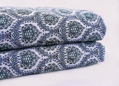 Indian Fabric White Floral Craft Cotton Screen Printed Running Fabric 5 Yard