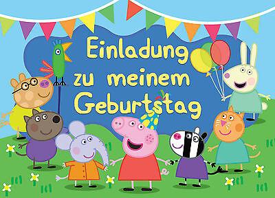 Geburtstag Einladungskarten- je Stück inkl Umschlägen 0,55€ (Peppa Einladungen)