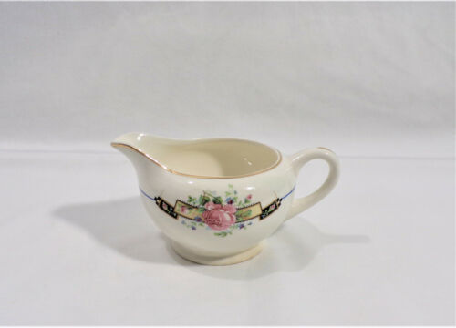 W. S. George DERWOOD -7  Made in USA 1638  Pink & Blue Flowers Gold Trim CREAMER