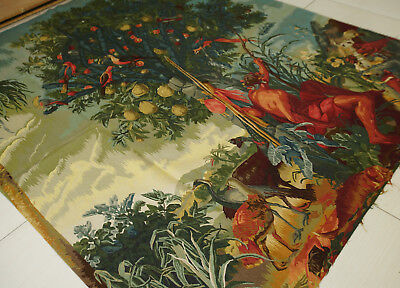 7.5' X 13.8' Antique Aubusson Garden Tapestry Handmade Fruits Animals Flowers
