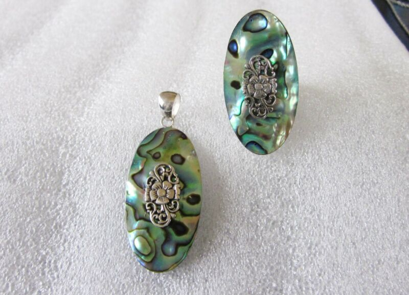 Abalone Ring & Pendant Set, Sterling Silver, Ring sz 11