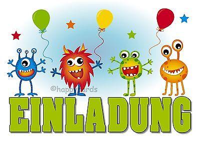 8 Einladungskarten Halloween LUSTIGE MONSTER Geburtstag Kinder Einladung Party ()