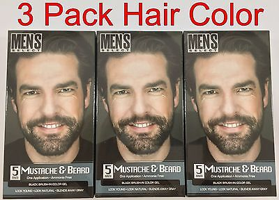 3 pack Men's Select 5 Minute Mustache and Beard Dye BLACK brush in Color Gel](Mustache And Beard)