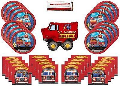 Fire Truck Firefighter Party Supplies Bundle Pack for 16 (Bonus 14 Inch Ballo...](Firetruck Party Supplies)