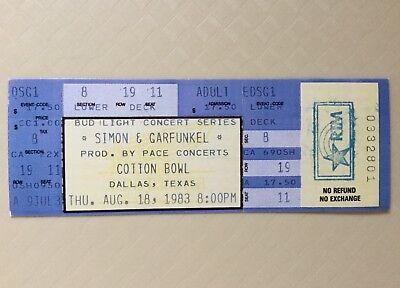 Simon & Garfunkel Unused Ticket 1983 Cotton Bowl Dallas Texas Bud Light Concert
