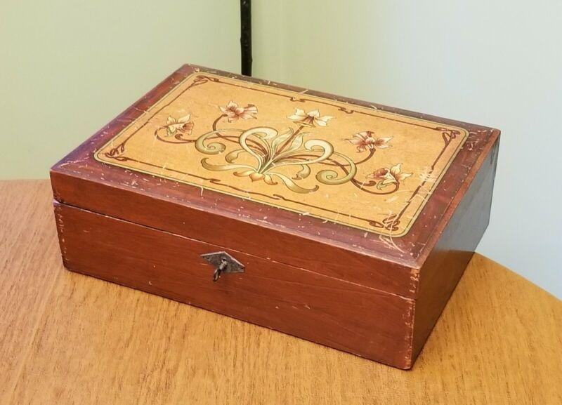 Antique Victorian Art Nouveau Lap or Travel Desk Box with Key