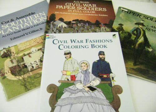 VTG CUT ASSEMBLE ADULT COLORING BOOK LOT DOVER CIVIL WAR PLANTATION UNCUT