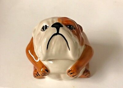Kevin Francis  Face Pot Brown and White Bulldog Bertie