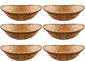 12 x Vintage Oval Natural Bamboo Wicker Bread Basket Storage Hamper Display Tray