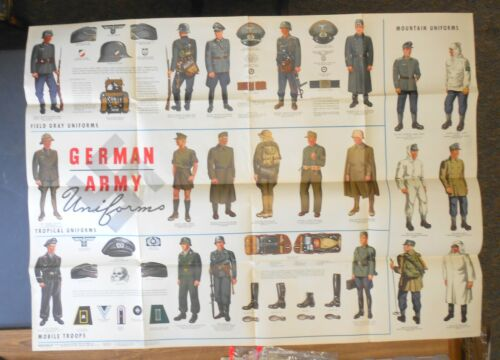 WW2 Original Newsmap Poster US Army 1944 Great Graphics German Army Uniforms
