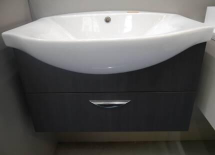 RRP.$1683 Ex Display RF Aegean II Grey Vanity Semi Recessed Basin