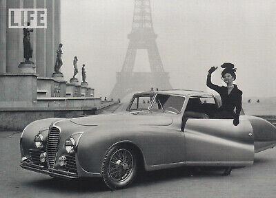 Karte Schwarz Und Weiß (schwarz-weiß Ansichtskarte: Model und Auto am Eifelturm in Paris, 1947)