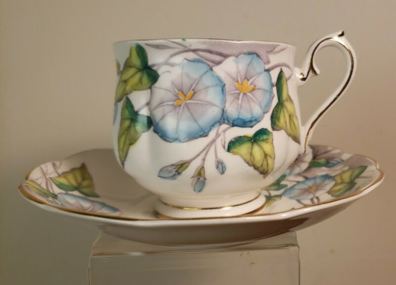 """Royal Albert Bone China Cup & Saucer """"Morning Glory"""" #9 Flower of the Month NICE"""
