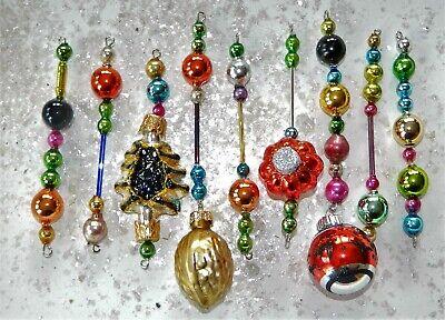 9 HALLOWEEN Mercury Glass Bead Icicle Ornaments Christmas Garland Czech Bead