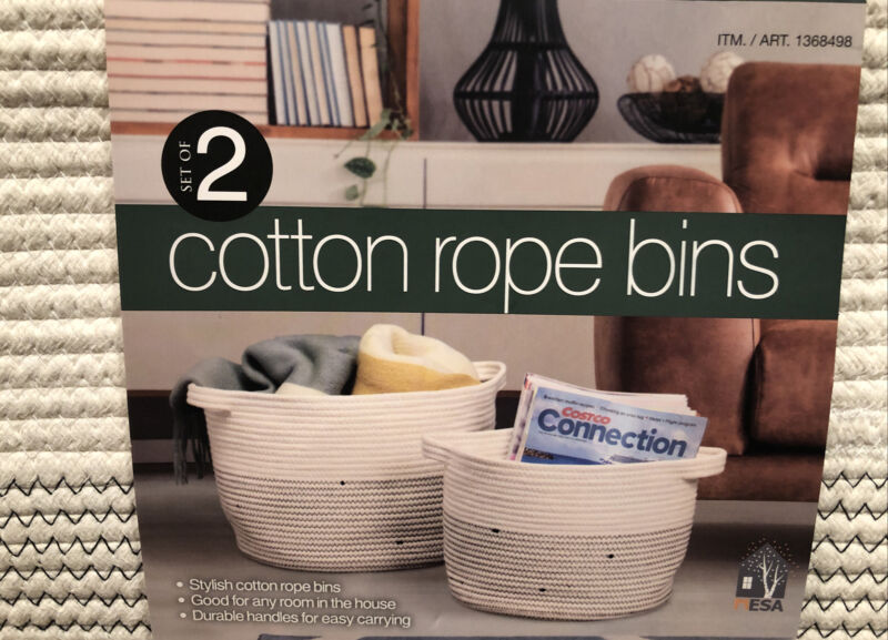 "Cotton Rope Bins, Set of 2 - Large 15""x11""  Small 12""x9"" -New in Package"