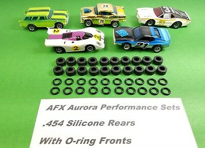 AFX Aurora Lot of 10 full sets Front O-ring & Rear silicone tires HO Slot Car