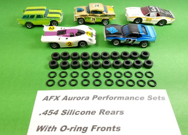 AFX Aurora Magnatraction 40 TIRES Front O-RINGS & REAR SILICONE HO Slot Car
