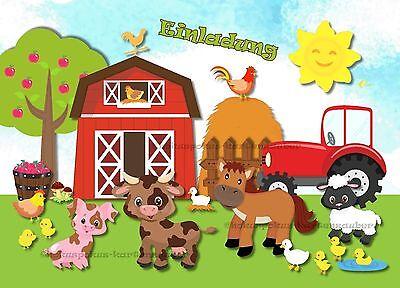 8 Einladungskarten Bauernhof Geburtstag Kinder Tiere Traktor Einladungen Farm
