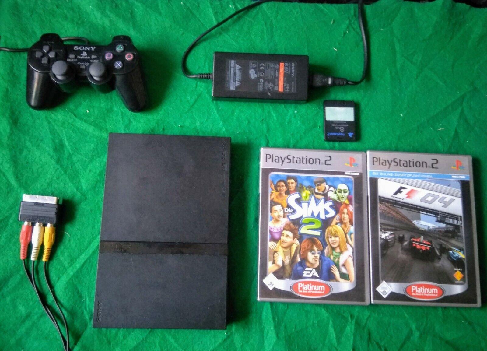 Sony PS2 Slim 75004 Schwarz Modbo CHIP Pad Memory 2 Spiele NTSC & PAL Laser neu
