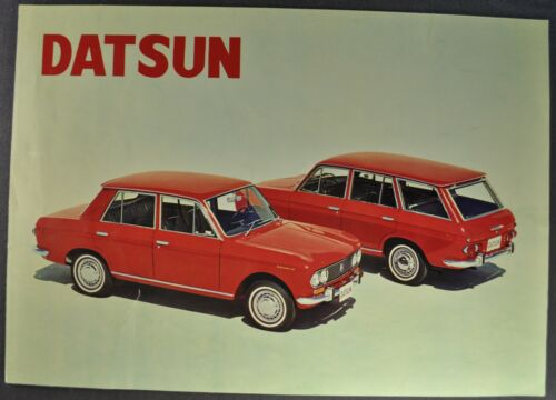 1966 Datsun Brochure Folder Sedan Station Wagon Nissan PL-411 Nice Original 66