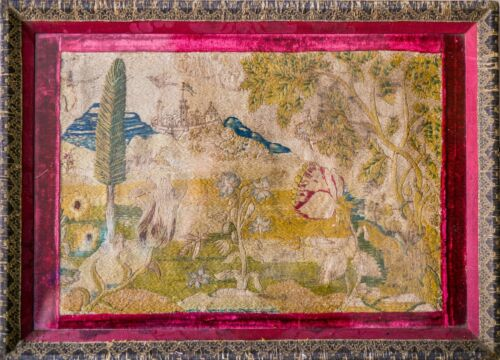 LATE 1500 MEDIEVAL ANTIQUE DEUTCH TULIP MANIA TAPESTRY EMBROIDERY HISTORIC SILK
