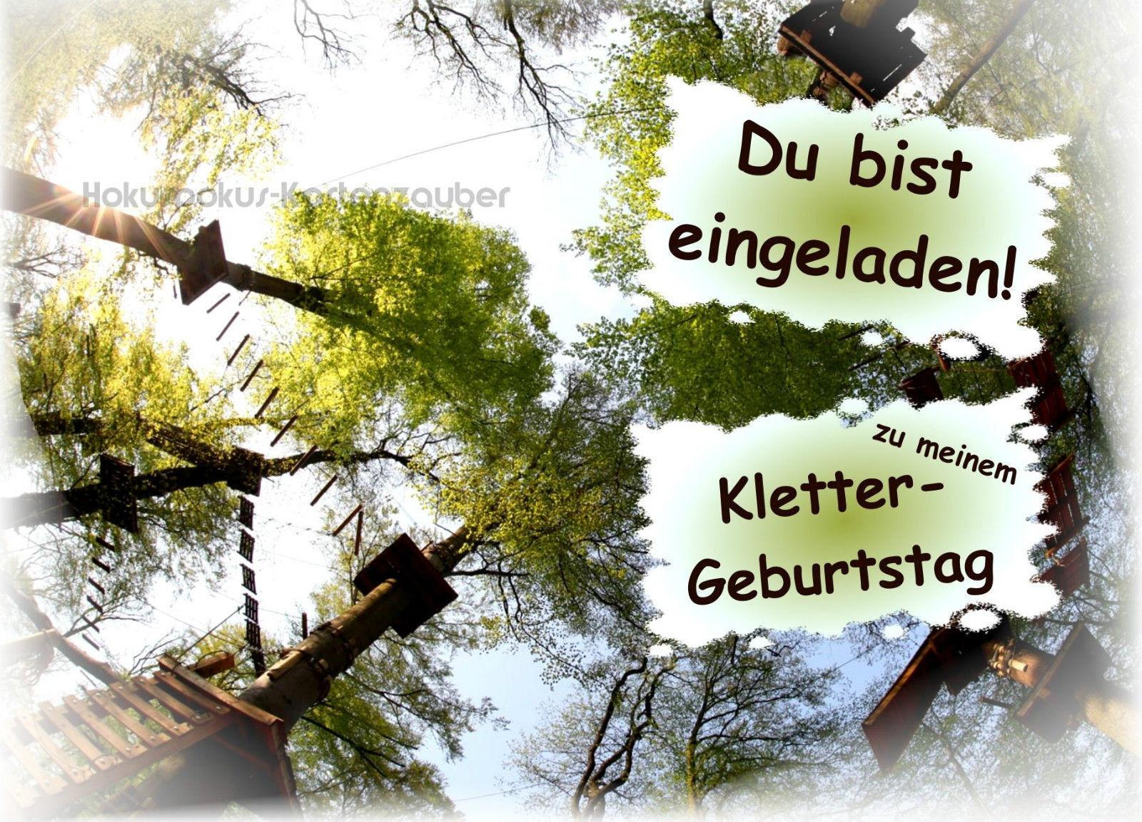 8 Einladungskarten klettern Geburtstag Kinder Kletterpark Hochseilgarten