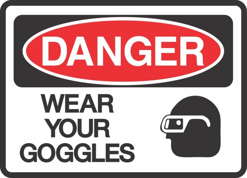 """DANGER WEAR GOGGLES  (5 Pack) 3.5"""" x 5"""" Label Sticker Safety Sign Decal Warning"""