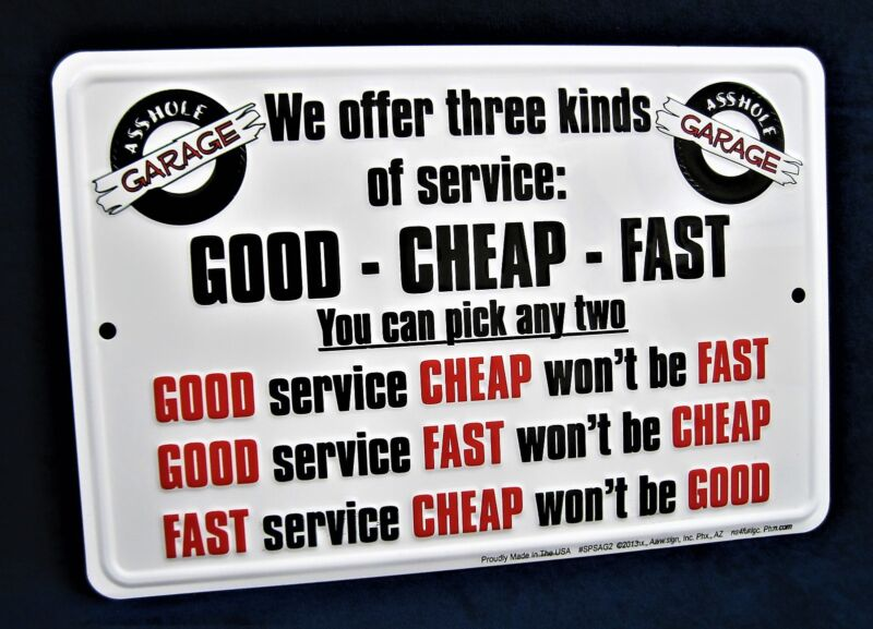 THREE KINDS of SERVICE *US MADE* Embossed Sign - Man Cave Garage Bar Wall Decor