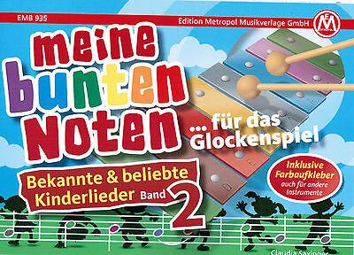 Glockenspiel Noten : Meine bunten Noten KINDERLIEDER 2 - sehr leicht -  FARBEN ()