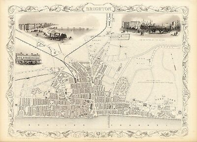 Antique Brighton England decorative map Tallis 31,5 x 23,6 inch canvas