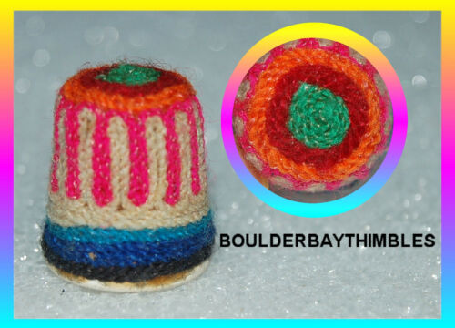 HUICHOL YARN ART THIMBLE-  VERTICAL PINK STRIPES - ONE OF A KIND - NEW